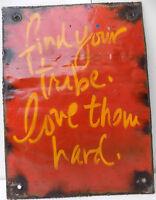 Pannello in metallo pubblicitario stile industrial cm 31x42 vintage dipinto red