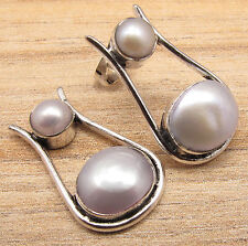 925 Silver Overlay Authentic WATER PEARL ARTISAN Stud Earrings Jewelry