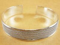 "New 925 Sterling Silver Torque Bangle Bracelet Cuff Bali Style Wheat 6.5"" - 7"""