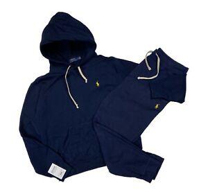 Polo Ralph Lauren Tracksuit Mens - Navy Blue Yellow - Hoodie Joggers - Medium M