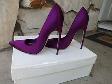 Brian Atwood *Authentic* SkyHigh Long Pointed FM Pumps Purple Satin EU 37.5