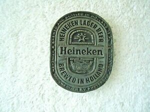 "Vintage Heineken # 1134 Pewter ? Oval Shaped Belt Buckle "" RARE COLLECTIBLE ITEM"
