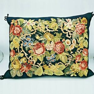 1988 Katha Diddel Victorian Roses Needlepoint Pillow 15 x 21 Cottage Core Floral
