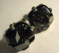 Sarah Coventry Cufflinks - Vintage Black Hematite Silver Mid Century Cuff Links