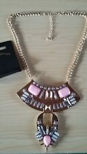 BNWT-Egyptian Coral Grey and Gold Tone Chain Statement Collar Necklace