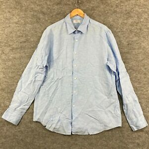 Uniqlo Mens Linen Button Up Shirt Size XL Blue Long Sleeve Collared 301.02