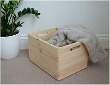 Large Plain Pine Wood Storage Wooden Box with Handles Crate Trunk Toys 40x30x24
