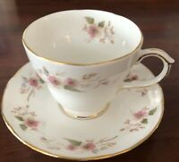 Duchess Bone China Footed Tea Cup Saucer England Glen 316 PinkFloral