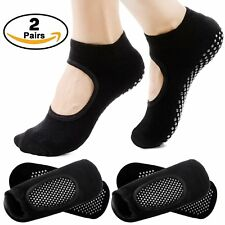 Two Pairs Black Yoga Socks Cotton Barre Pilates Ballet Size 5-10 Non Slip Grip