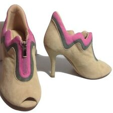 New Ask Alice Light Tan Gray and Pink High Heeled Peep-toe Suede Booties Size 37
