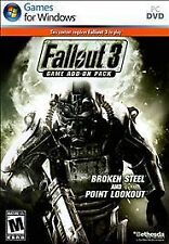 Fallout 3 Game Add-On Pack: Broken Steel and Point Lookout (PC, 2009) BRAND NEW