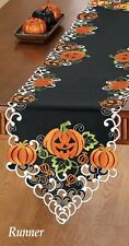 Pumpkin Fall Thanksgiving Orange Black Embroidered Table Runner