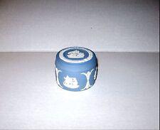 Vtg. Wedgwood Box-Lid/Cream Color on Blue Jasperware Cupid Asleep Fine Cond.