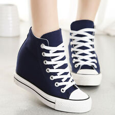 ladies Canvas Hidden Wedge Lace Up Platform Sneakers  High Top Trainers  Shoes