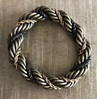 Lanvin Brass and Gold Twisted Rope Chain Bracelet Made in France