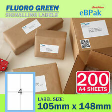 200 Sheets - Fluoro Green - Peel Paste Mailing Label 105x148mm 4 per Page
