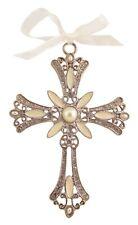 Decorative Cross Ornament Ivory Swirled Paint and Rhinestones