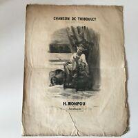 Partitura Canción Triboulet Plouvier Música H. Monpou Francia Musical Siglo XIX
