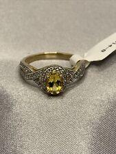 JTV Yellow Beryl and White Zircon 10k Yellow Gold Ring