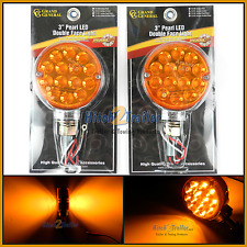 """(2) LED lights 3"""" Pearl Double Face Amber 14 diodes marker Amber lens # 75191"""