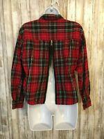 Urban Outfitters Urban Renewal Button Down Shirt Tartan Plaid Flannel Zip Size L