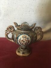 Unusual Majolica Style Small Vase With Mask,Symbols and Dragon/Serpents Handles