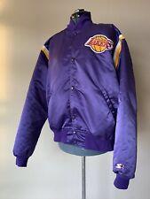 VTG 90s STARTER Los Angeles Lakers NBA Basketball Snap Satin Jacket XL