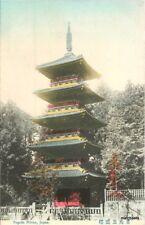 C-1910 Pagoda Nikko Japan hand colored postcard 4271