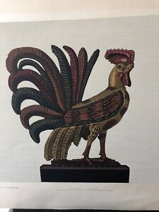 1947 Allen Saalburg Serigraph Carved Wood Rooster- Americana Art Canal Press