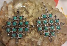 "Studio Barse Sterling Silver Overlay Montana Turquoise 2.25"" Dangle Earrings"