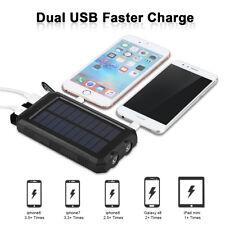 10000mAh Solar Power Bank Dual USB Externa Batería Cargador para iPhone Android