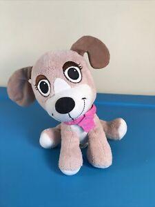 "Tan brown with Pink collar Pound Puppies 7"" Plush Dog hasbro 2011"