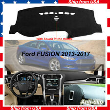 For 2013-2017 Ford Fusion Dash Mat Cover Non-Slip Dashboard Interior Black Mesh