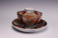 Antique Meiji Hizen Imari Arita Ware 3 Piece Lidded Rice Bowl - D