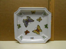 """Andrea By Sadek Butterfly Square Gold Rim Plate Dish 8"""" by 8"""""""