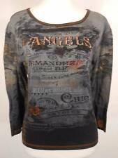 Beautiful Women's Large Susan Lawrence Angels & Roses 3/4 Sleeve Knit Top GUC