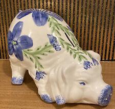More details for large vintage piggy bank pig ~ floral design ~ gatehouse pottery edinburgh 🐷