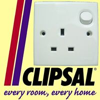 Schneider Clipsal 1 gang Single Switched Socket mains Electrical 13A 240V WHITE