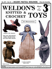 Weldon's 2D #491 c.1925 Vintage Patterns for Knitting & Crochet Toys & Dolls