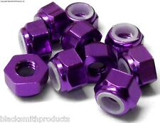 NM410P M4 4mm Nylon Alloy Aluminium Lock Nuts x 10 Wheel Axle 1/10 Purple