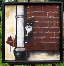 Künstlerische Malerein mit Katzen-Motiv und Öl-Technik von 1950-1999