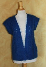 Hand-Knit Handmade Blue Luxurious Design Mohair Cardigan Vest Sweater Sz M L