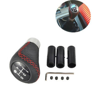 5 Speed Black/Red Leather Aluminum Manual Car Gear Shift Knob Shifter Lever Kit