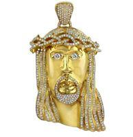 14K Yellow Gold Over 925 Silver Mens Diamond White Jesus Head Pendant 4.85 Ctw