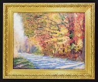 Original Oil Painting Fall Leaves Orange Yellow Trees in Fall Art Autumn Art