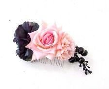 Blush Light Pink Navy Blue Rose Berry Flower Hair Comb Bridesmaid Bridal 3570