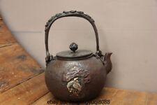 9 Japan Old Iron Silver Gilt Pine Tree Crane Elk Deer Flagon Kettle Wine Tea Pot