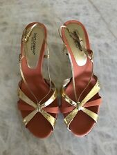 DOLCE & GABBANA Coral Orange and Gold Strappy Heels 39