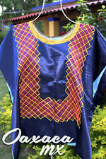 134 Womens Mexican Embroidered Blue Huipil Oaxaca Boho Hippie Mayan Blouse