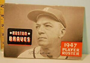 Vintage 1947 Boston Braves Baseball Player Roster Schedule